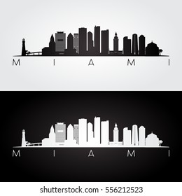 Miami USA skyline and landmarks silhouette, black and white design, vector illustration.