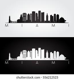 Miami USA skyline and landmarks silhouette, black and white design, vector illustration.
