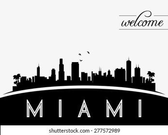 Miami USA skyline silhouette, black and white design, vector illustration
