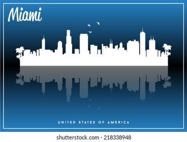 Miami, USA skyline silhouette vector design on parliament blue background.