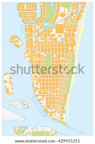Detailed Map Of Florida.Miamibeach Detailed Vector Street Map Florida Stock Vector Royalty