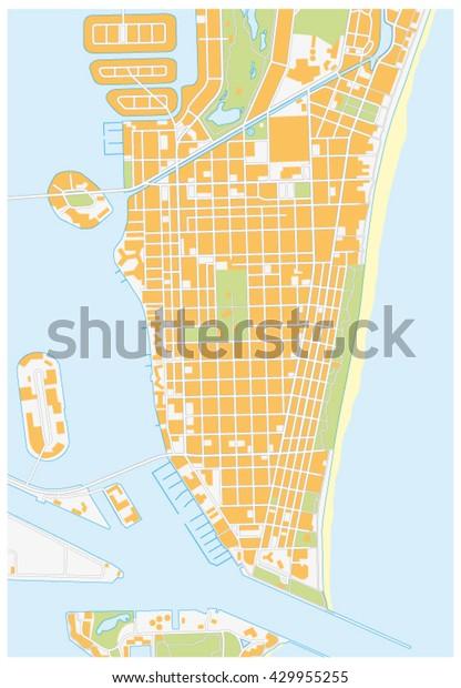 Detailed Florida Map.Miamibeach Detailed Vector Street Map Florida Stock Vector Royalty