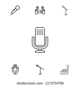 Mic icon. collection of 7 mic outline icons such as microphone. editable mic icons for web and mobile.