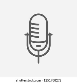 Mic icon line symbol. Isolated vector illustration of  icon sign concept for your web site mobile app logo UI design.