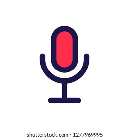 Mic Icon Vector Illustration in Filled Style for Any Purpose