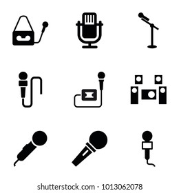 Mic icons. set of 9 editable filled mic icons such as microphone