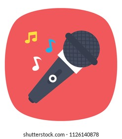Mic with music notes, singing song or music concert