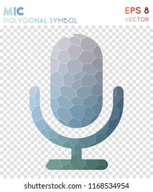 Mic polygonal symbol, astonishing mosaic style symbol. Uncommon low poly style, modern design.