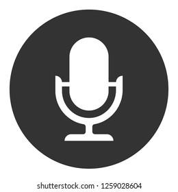 İllustration of Mic sign. Karaoke microphone icon. Mic vector icon. Microphone vector icon.  Broadcast mic sign. EPS 10 flat symbol. Round icon design