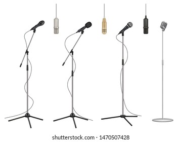 Mic stand. Realistic music microphones sound studio professional equipment vector pictures collection. Mic audio for studio, stand microphone to concert illustration