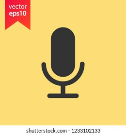 Mic vector icon. Microphone vector icon. Mic sign. Karaoke microphone icon. Broadcast mic sign. EPS 10 flat symbol.