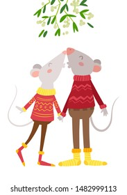 Mice couple kissing under mistletoe flat vector illustration. Romantic rats in knitted sweaters, socks cartoon characters. Cute mouse kisses sweetheart under traditional Christmas decorative tree