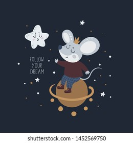 Mice mouse baby and star. New Year symbol 2020. Holiday card. Follow your dream. Cartoon animal character illustration. For print, poster, calendar, decoration, textile, card, souvenirs