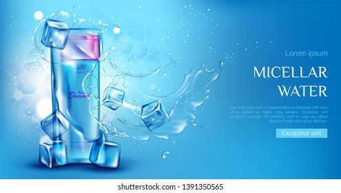 Micellar water cosmetic bottle mockup with ice cubes, aqua splashes on blue background. Beauty cosmetics product, makeup remover or tonic ad promo poster. Realistic 3d vector illustration, banner.