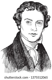Michael Faraday (1791-1867) portrait in line art illustration. He was a British physicist and chemist whose many experiments contributed greatly to the understanding of electromagnetism.