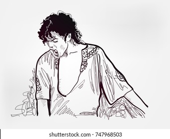 michael jackson sketch vector illustration