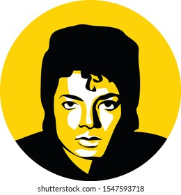 michael jackson vector sketch on simple yellow circle background, isolated style. eps 10.