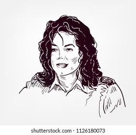 Michael Jackson vector sketch portrait illustration