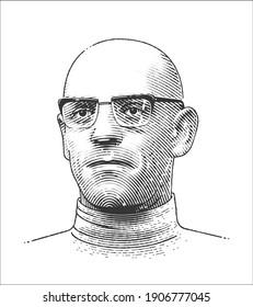 Michel Foucault (1926 - 1984) engraving portrait. French philosopher.