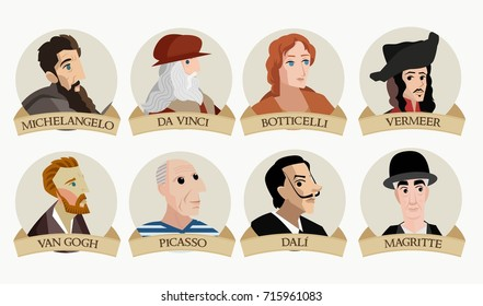 Michelangelo, Da Vinci, Magritte, Vermeer, Van gogh, Picasso, Dali and Botticelli face cartoons avatars of great painters from all the times