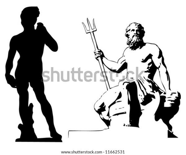 Michelangelo's David and Poseidon