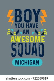 Michigan awesome squad, t-shirt print poster vector illustration