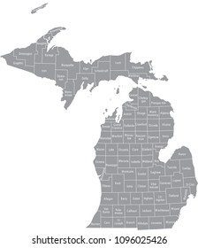Michigan county map vector outline gray background. Map of Michigan state of USA with borders and counties names labeled