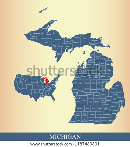 Michigan County Map Vector Outline Blue Stock Vector Royalty Free