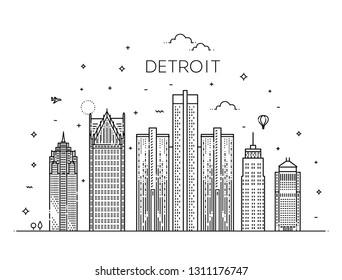 Michigan, Detroit . City skyline. Architecture, buildings, landscape, panorama, landmarks, icons