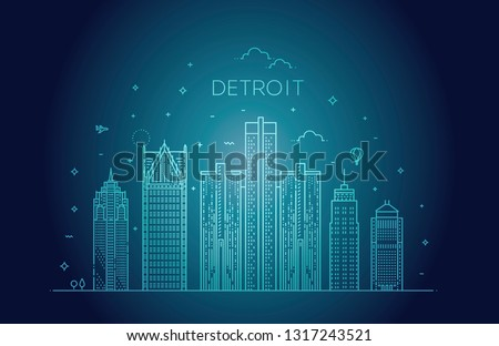 Michigan Detroit City Skyline Architecture Buildings Stock Vector