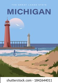 Michigan. Great Lakes. People and windsurfing on a vector poster with travel theme