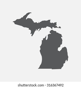 Michigan grey state border map.