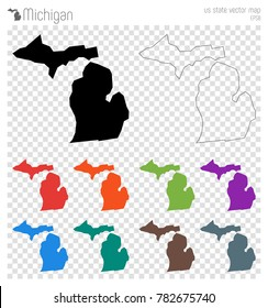 Michigan high detailed map. Us state silhouette icon. Isolated Michigan black map outline. Vector illustration.