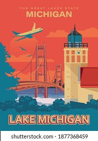 Michigan lake  and a lighthouse, an airplane on a retro poster
