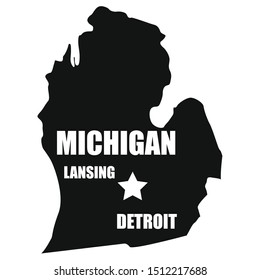 Michigan map in black on a white background