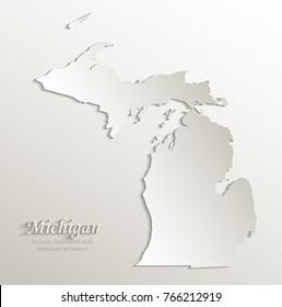 Michigan map card paper 3D natural vector