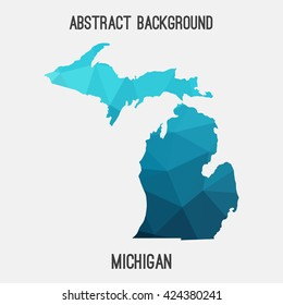 Michigan map in geometric polygonal style.Abstract tessellation,modern design background. Vector illustration EPS8