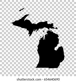 Michigan map isolated on transparent background. Black map for your design. Vector illustration, easy to edit.