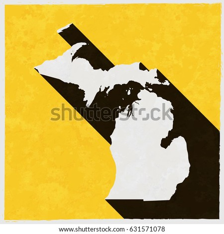 Michigan Map On Retro Poster Long Stock Vector Royalty Free