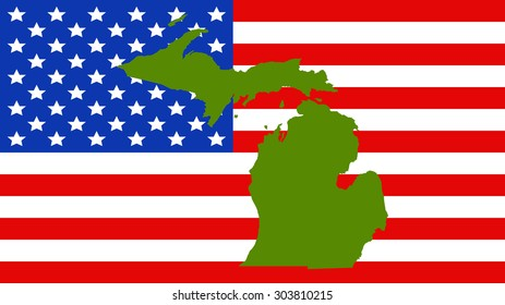 michigan map on a vintage american flag background
