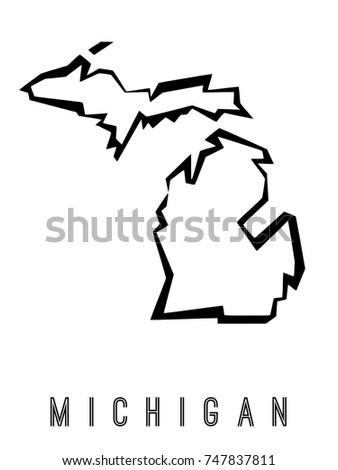 Michigan Map Outline Us State Shape Stock Vector Royalty Free