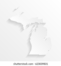 Michigan Map with shadow. Cut paper isolated on a white background. Vector illustration.