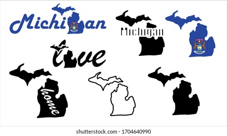 Michigan map. US state vector. United States of America