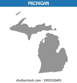 Michigan Map Vector - Editable maps