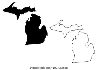 Michigan map vector illustration, scribble sketch Michigan map