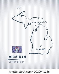 Michigan national vector drawing map on white background