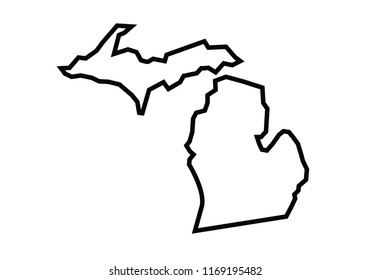 Michigan outline map state shape united states