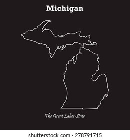 Michigan outline map, stroke. Name of state. Line style. Vector EPS8