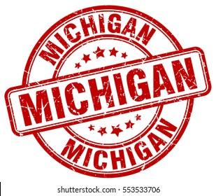 Michigan. stamp. red round grunge vintage Michigan sign
