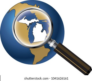 Michigan State Map Enlarged with Magnifying Glass on Globe
